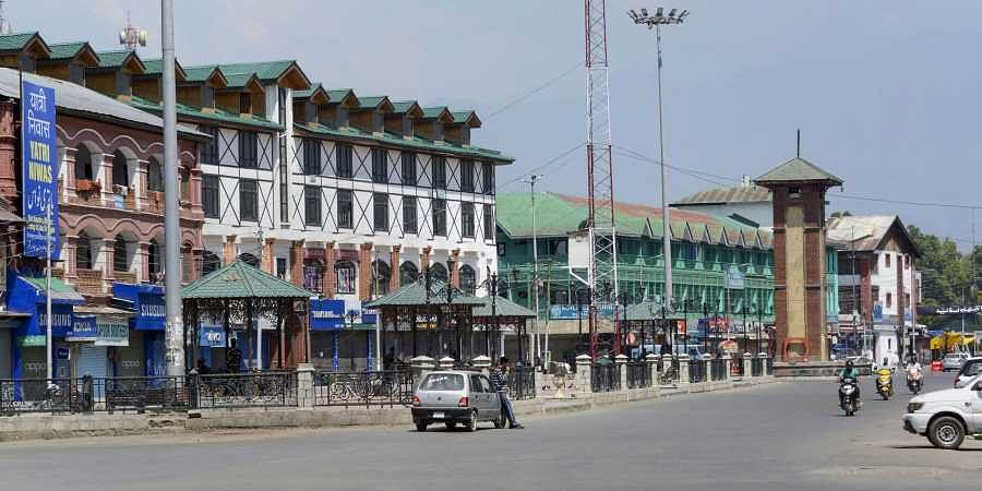 A view of the Lal Chowk area on the 30th day of restriction after abrogration of the provisions of Article of 370 in Srinagar Tuesday September 3 2019. | PTI