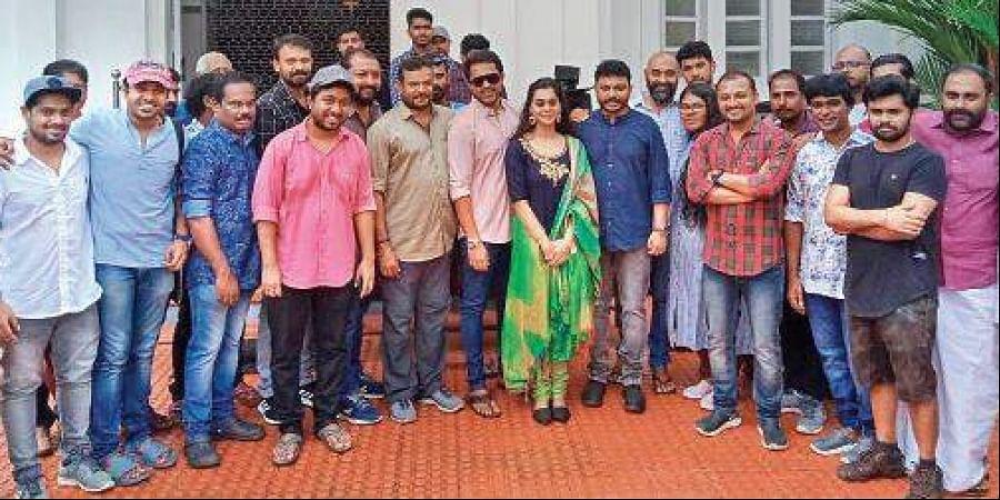The 'Kunjeldho' team at Kottayam, where the shoot commenced.