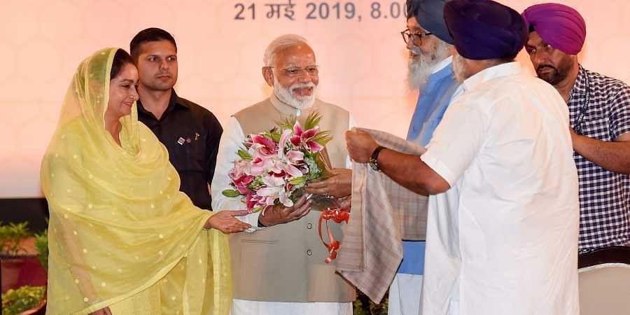 PM Narendra Modi with Badals