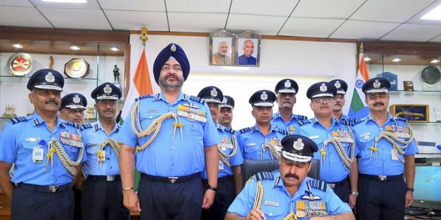 New Delhi Image released on Twitter Monday Sept. 30 2019 Air Marshal Rakesh Kumar Singh Bhadauria takes charge as the 26th Chief of Indian Air Force IAF. | (Photo | IAF Twitter)
