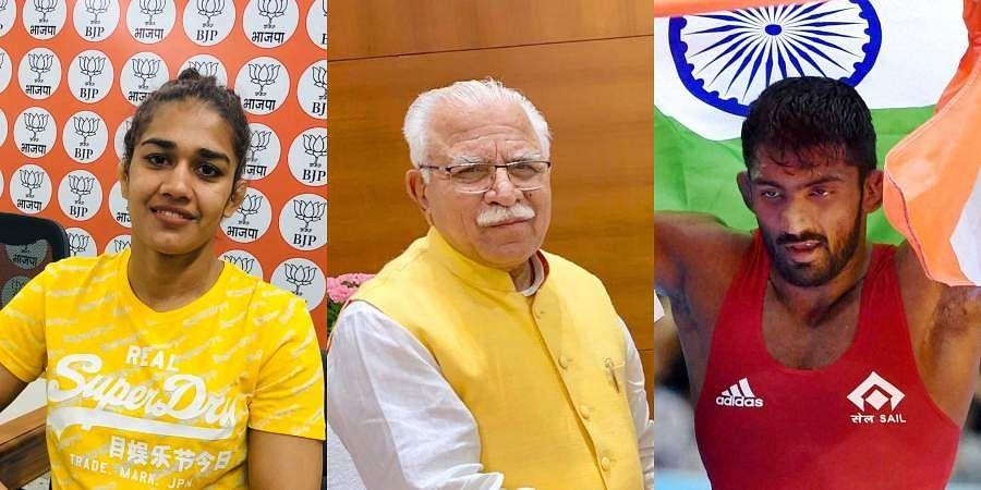 (From Left) Wrestler Babita Phogat, Haryana CM Manohar Lal Khattar and Olympic medallist Yogeshwar Dutt