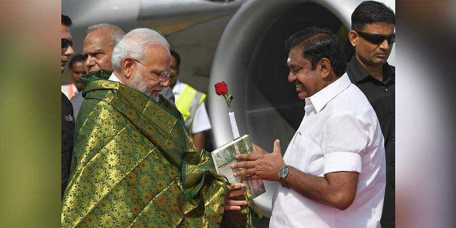 Prime Minister Narendra Modi being welcomed by the Chief Minister of Tamil Nadu, Edappadi K. Palaniswami, on his arrival, in Chennai