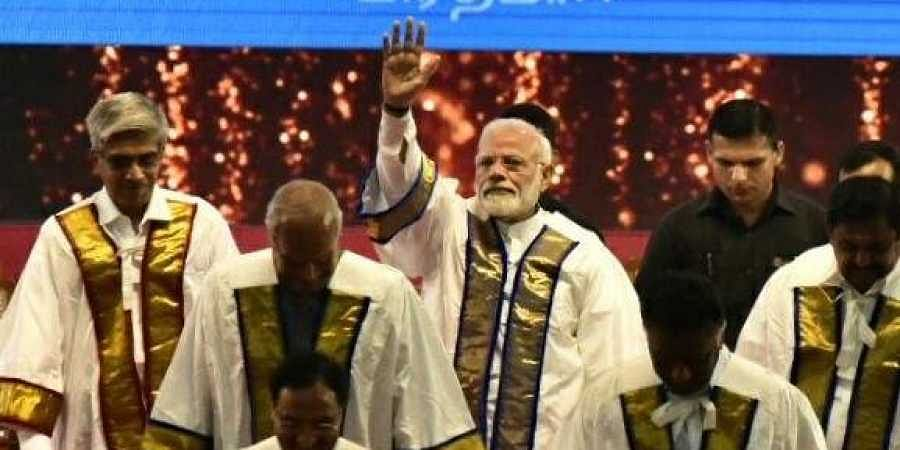 Prime Minister Narendra Modi at the convocation of IIT Madras on Monday in Chennai. | (Photo | P Jawahar/EPS)