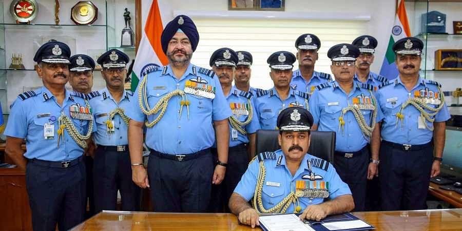 Air Chief Marshal Rakesh Kumar Singh Bhadauria taking over as 26th Chief of the Air Staff at Air HQ Vayu Bhavan in New Delhi.(Photo | PTI)