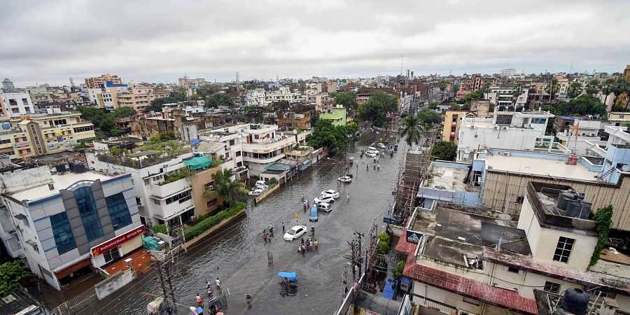 An ariel view of a flooded road following heavy monsoon rain in Patna Monday Sept. 30 2019. | (Photo | PTI)