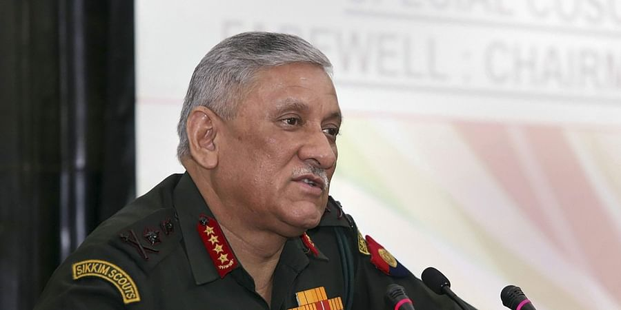 Army Chief General Bipin Rawat addressing after taking over as the new Chairman of Chiefs of Staff Committee