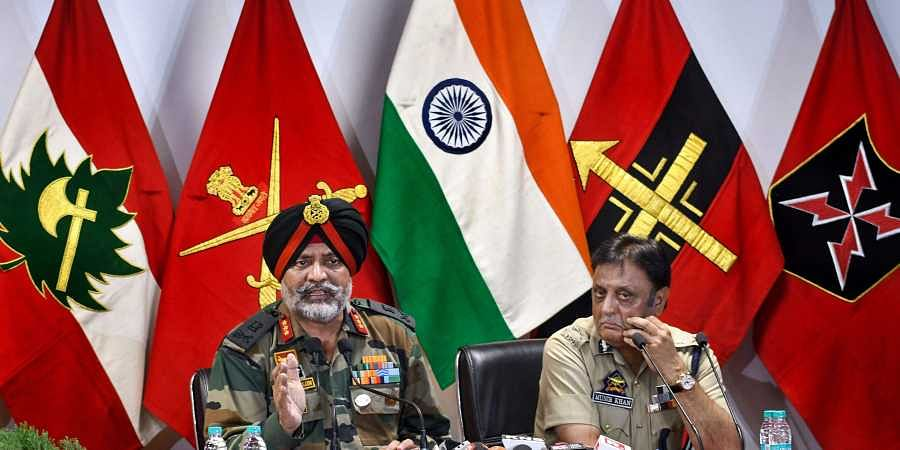 Chinar Corps Commander Lieutenant General KJS Dhillon and Jammu and Kashmir Police chief Munir Khan address a joint press conference at army's Badami Bagh Headquarters in Srinagar Wednesday September 4 2019. | PTI