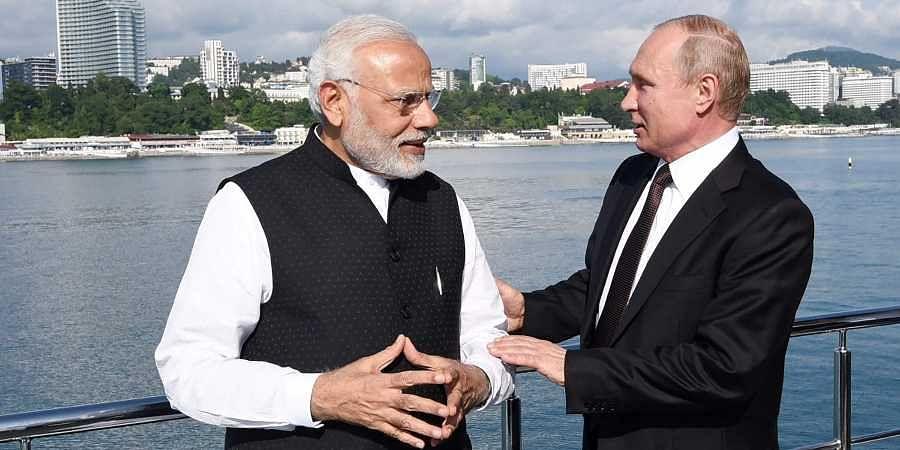 Prime Minister Narendra Modi with the Russian President Vladimir Putin at Sochi in Russia