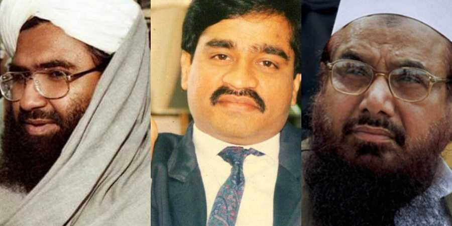 Jaish-e-Mohammed chief Masood Azhar (L), fugitive gangster Dawood Ibrahim (C) and LeT co-founder and 26/11 attacks mastermind Hafiz Saeed (R)