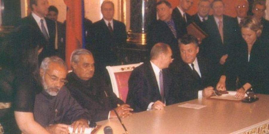 Then Gujarat CM Narendra Modi at the India-Russia Summit of November 2001.