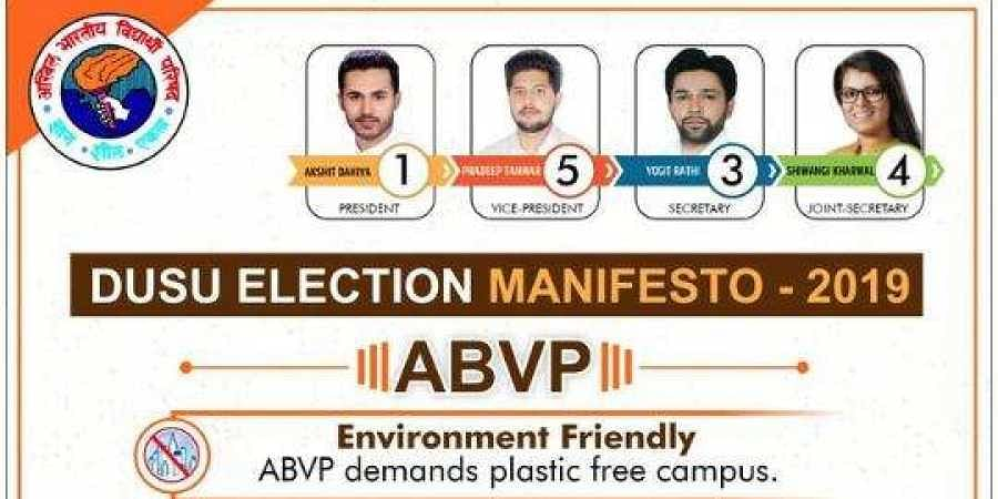 In the last DUSU polls, the ABVP had won three out of four seats, including the top post of president.