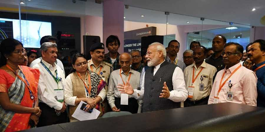 PM Narendra Modi interacts with ISRO scientists after connection with the Vikram lander was lost during soft landing of Chandrayaan 2 on lunar surface