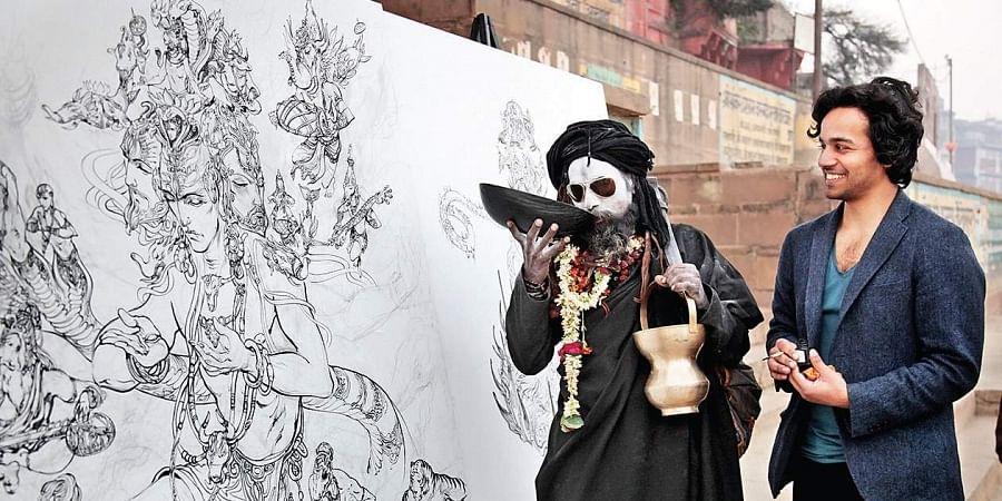 Abhishek Singh painting Lord Shiva in Varanasi