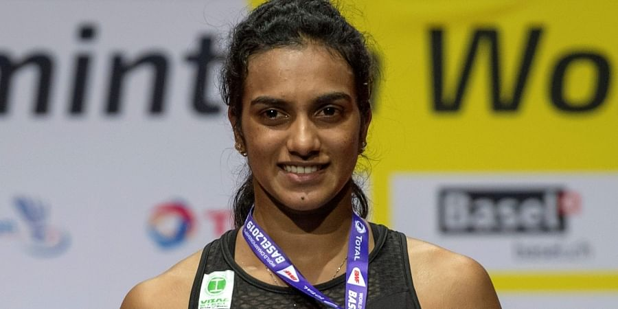 Gold-medallist PV Sindhu after winning her women's singles final match against Japan's Nozomi Okuhara at the BWF Badminton World Championships in Basel.