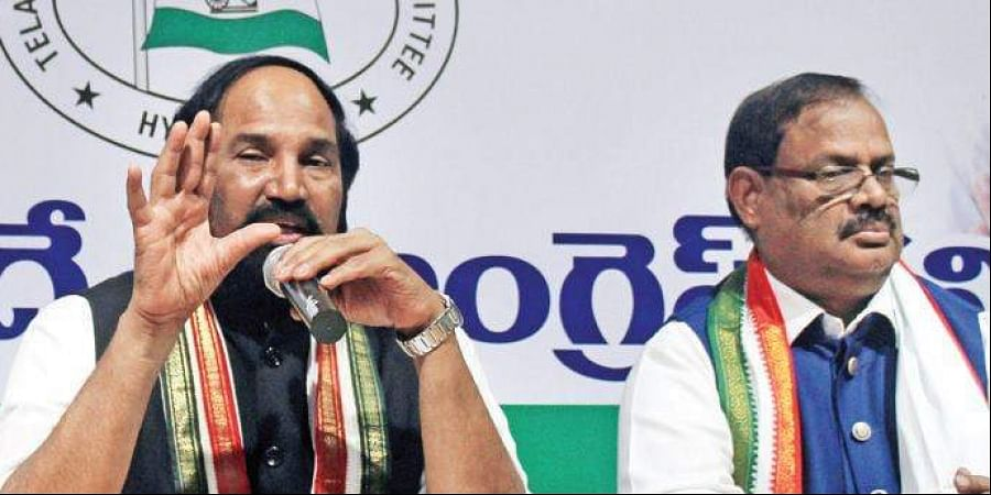 TPCC chief Uttam Kumar Reddy and AICC state in-charge RC Khuntia during a press meet in Hyderabad on Sunday.