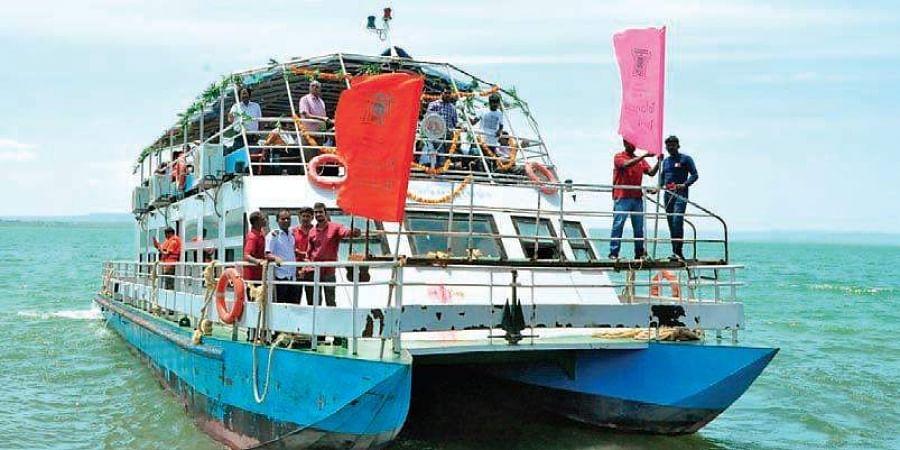 A Launch Large Motor Boat runs from Nagarjunasagar of Telangana to Srisailam of Andhra Pradesh. It was returned on Sunday from Srisailam to Sagar file.