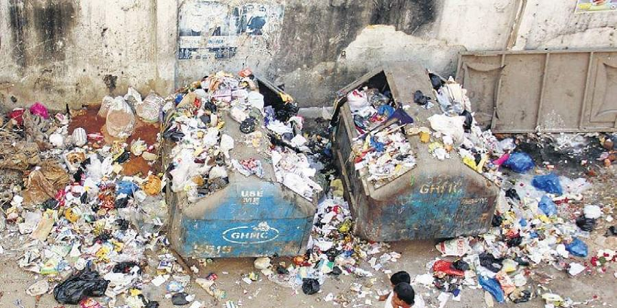 File picture of garbage piled up on a street in Hyderabad.