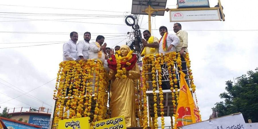 Andhra Pradesh TDP leaders staged innovative protest in Guntur city on Sunday.