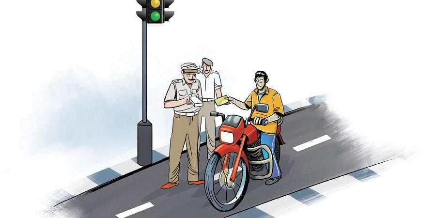 Traffic police, driving licence