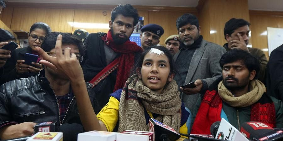 JNUSU president Aishe Ghosh along with other students addresses the media on January 10, 2020