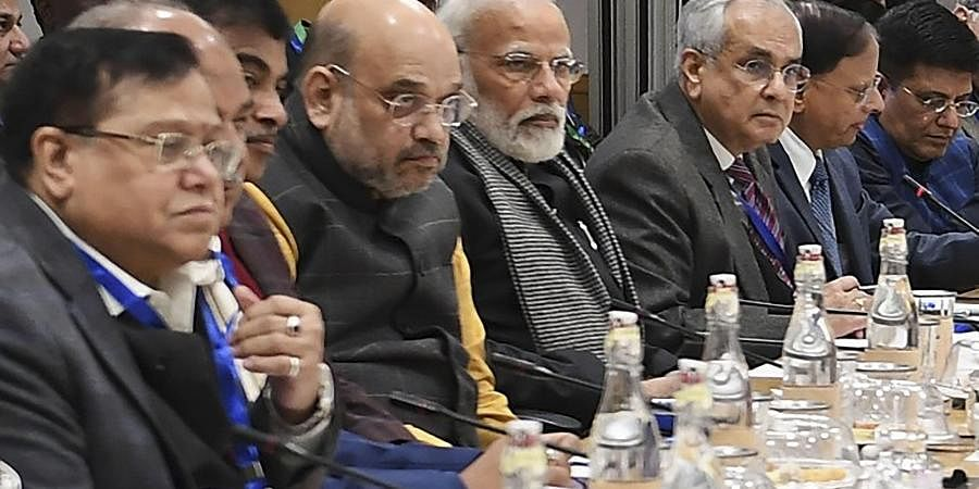 Prime Minister Narendra Modi with his cabinet colleagues Amit Shah, Nitin Gadkari and Piyush Goyal during an interaction with economists at NITI Aayog, New Delhi.