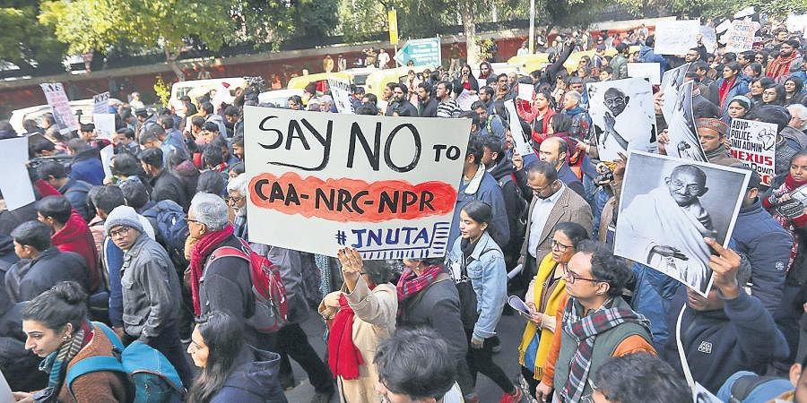 Students and teachers during a protest march slamming CAA-NRC-NPR and demanding removal of JNU vice-chancellor, in New Delhi on Thursday. (Photo| EPS/ Arun Kumar)