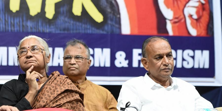 Justice B Chandra Kumar (R) and social activist Medha Patkar at a Convention against NRC-CAA-NPR in Hyderabad