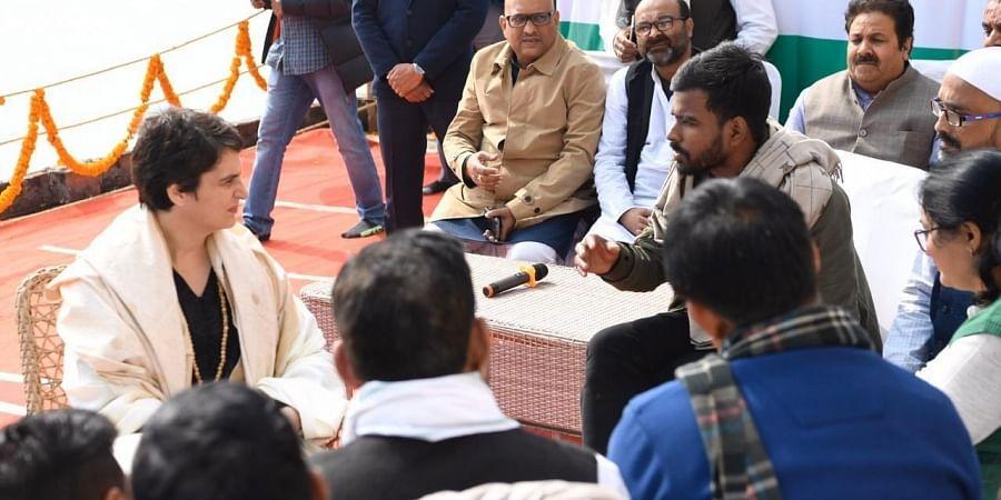 Congress general secretary Priyanka Gandhi Vadra interacting with students of BHU & civil society members in Varanasi