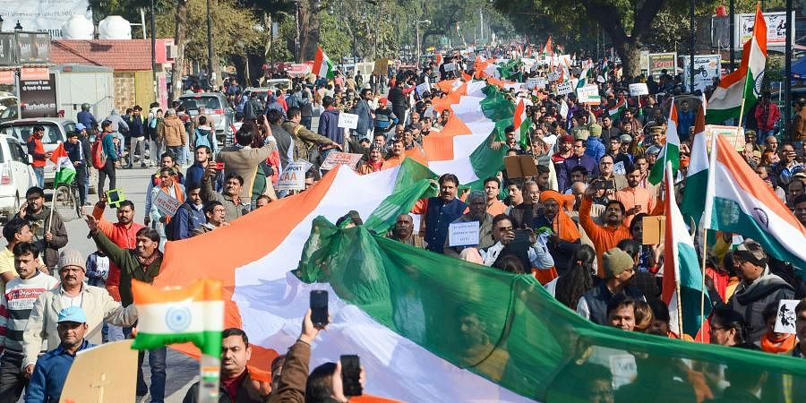 BJP supporters take part in 'Tiranga Yatra' in support of CAA and NRC in Praygaraj Saturday Jan. 11 2020. (Photo | PTI)