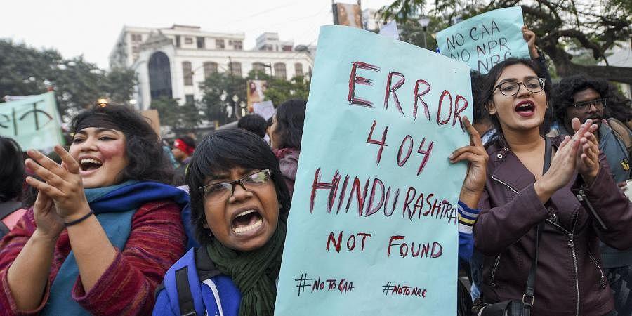 Students during a protest against Prime Minister Narendra Modi's visit in Kolkata Saturday Jan. 11 2020. (Photo | PTI)