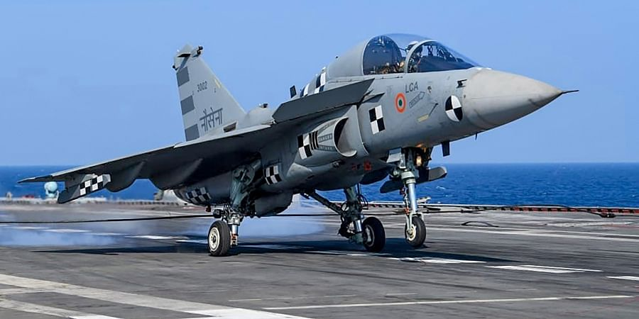 The naval version of India s indigenous Light Combat Aircraft LCA made its first arrested landing on the deck of India's aircraft carrier INS Vikramaditya Saturday Jan. 11 2020. (Photo | PTI)