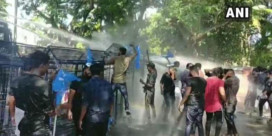 Water cannon used against Kerala Students Union (KSU) protesters during their march to Raj Bhawan against the January 5 Jawaharlal Nehru University (JNU) violence.