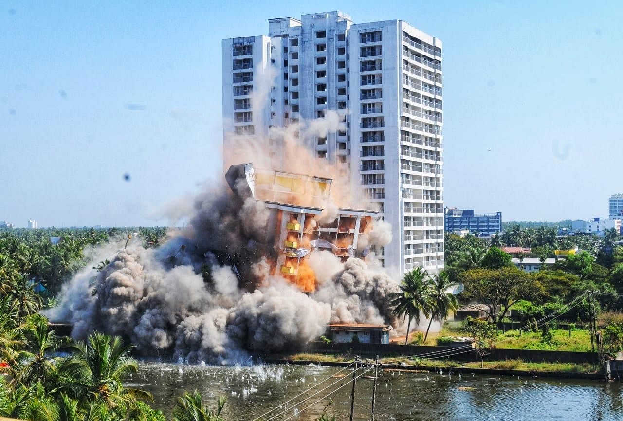 The 16-storey Golden Kayaloram, which housed 40 apartments -- came crumbling down like a pack of cards at 2.15 pm on Sunday, ending the two-day long demolition spree and a culmination of dramatic events.