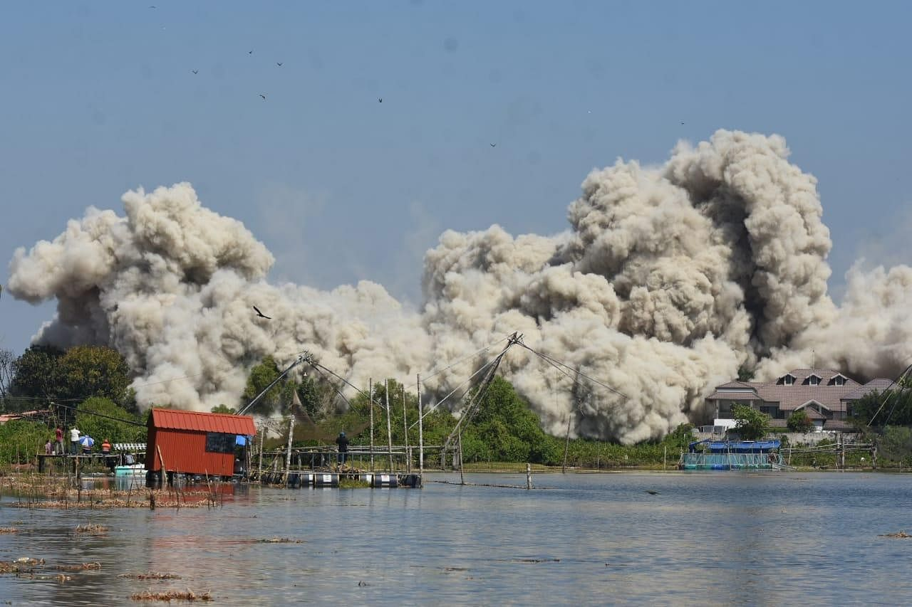 Jains Coral Cove was brought down at through controlled implosion using 395 kg of explosives at 11.03 am on Sunday.