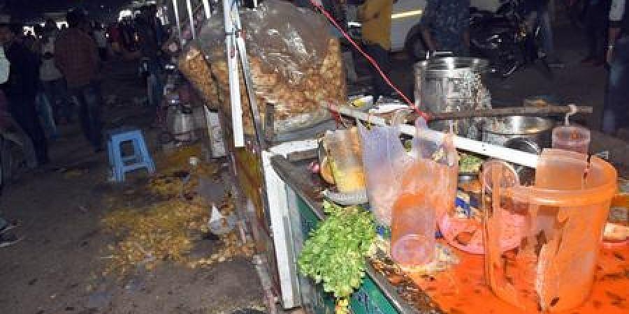 A damaged shop in Bhubaneswar's Unit-II market