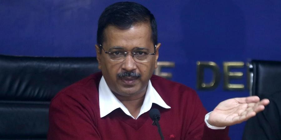 Delhi Chief Minister Arvind Kejriwal addresses a press conference in New Delhi on Wednesday