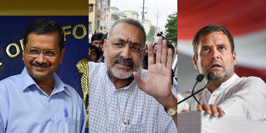 (From L) Delhi CM Arvind Kejriwal, Union Minister Giriraj Singh and former Congress president Rahul Gandhi