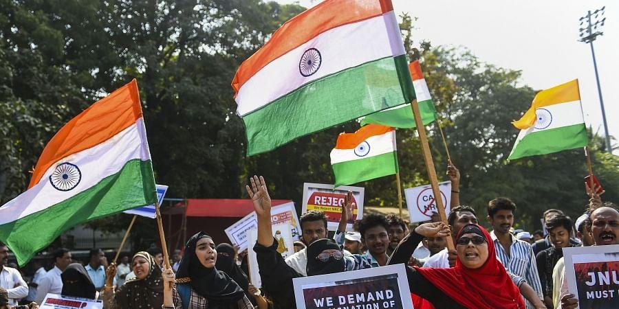 Protestors shout slogans as they demonstrate against Citizenship Amendment Bill and attack on New Delhi's Jawaharlal Nehru University at Azad Maidan in Mumbai Wednesday Jan. 8 2020. (Photo | PTI)