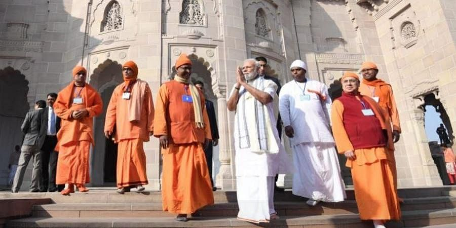 PM Modi at Belur Math in Bengal's Howrah district on Sunday.