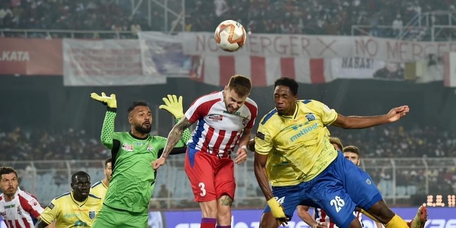Kerala Blaster Football club forward Raphael Messi Bouli 28 tries to score a goal against ATK during ISL match in Kolkata. (Photo | PTI)