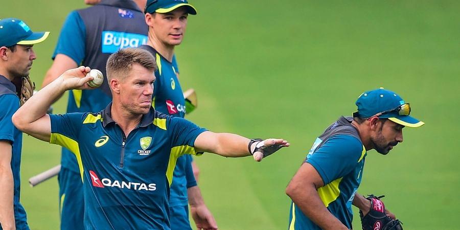 Australian cricketer David Warner during a practice session in Mumbai Saturday Jan. 11 2020. (Photo | PTI)