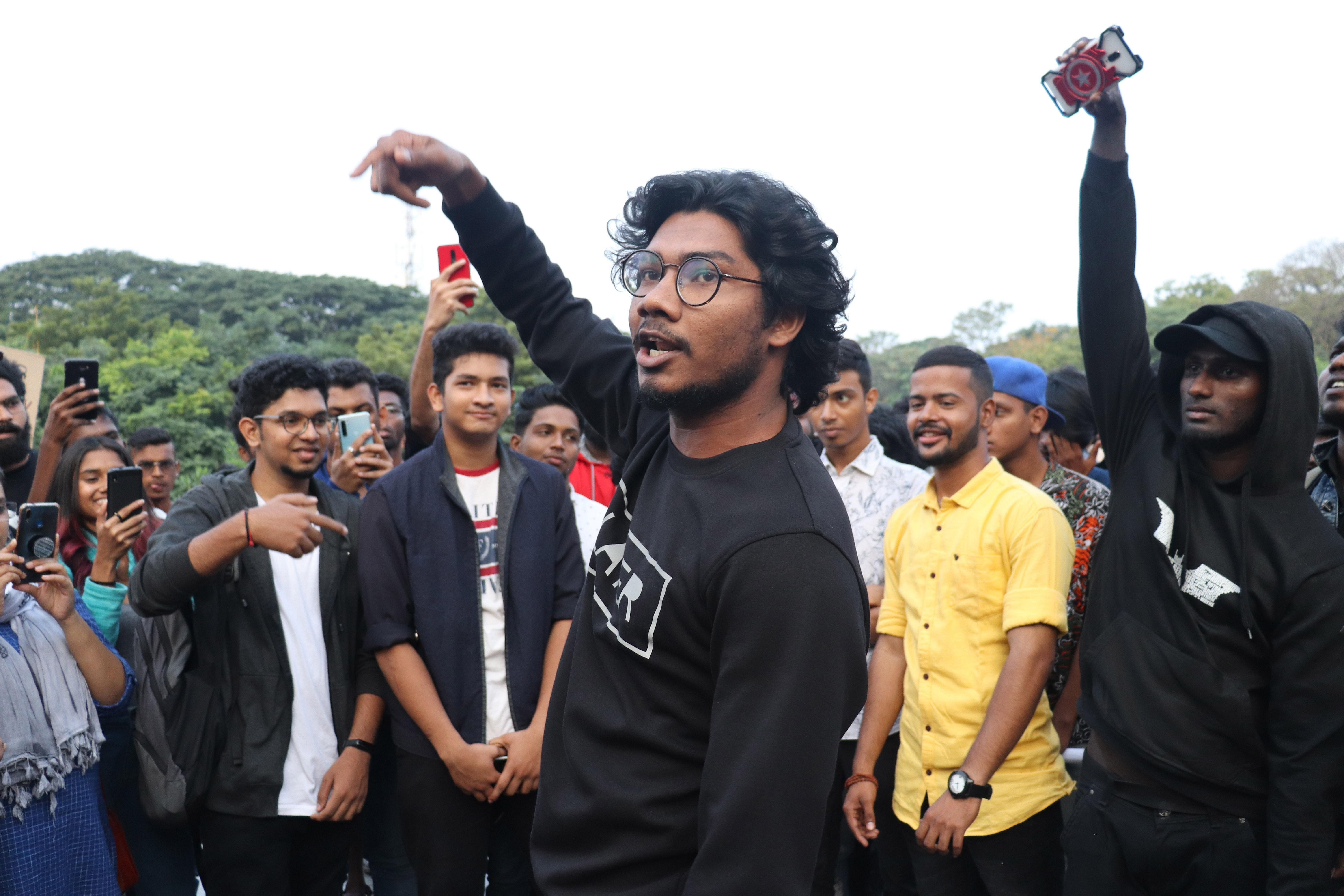 As onlookers thronged the venue, one youth entered the central space and began beatboxing and others joined him.