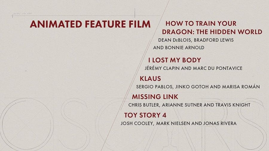 Here are the nominees for 'Animated Feature Film' Category