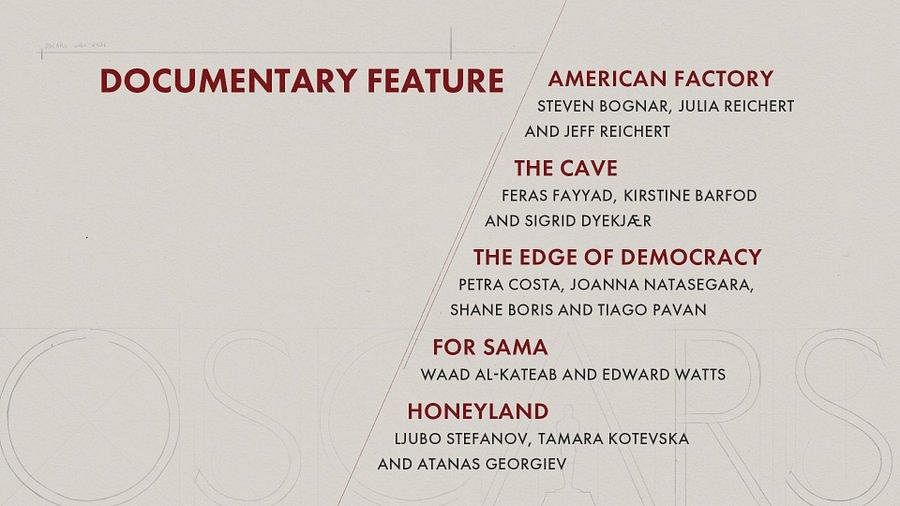 Here are the nominees for 'Documentary Feature' category
