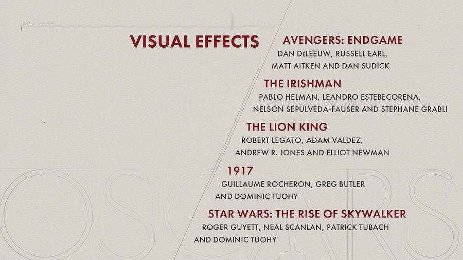 Here are the nominees for 'Visual Effects' category
