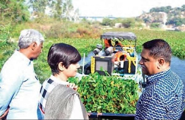 Durgam Cheruvu lake in Hyderabad gets floating trash collector