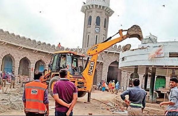 Greater Hyderabad Municipal Corporation razes illegal structure in MJ Market
