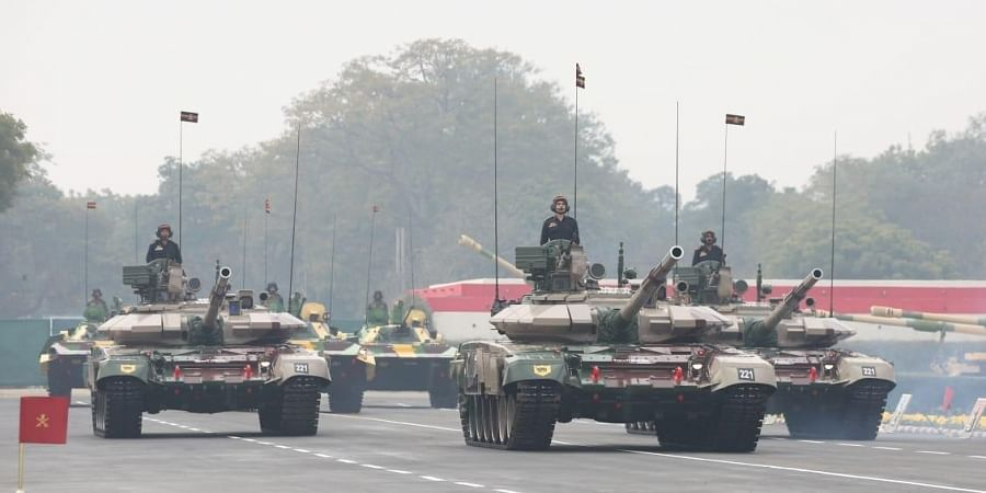 Army soldiers demonstrate combat skills during the Army Day parade full dress rehearsal in New Delhi