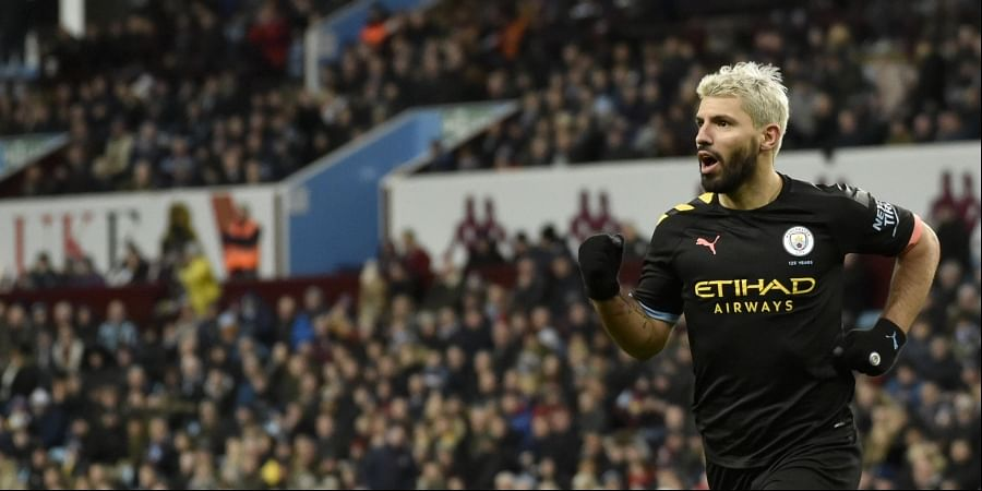 Manchester City's Sergio Aguero celebrates after scoring his side's fifth goal during the English Premier League soccer match between Aston Villa and Manchester City at Villa Park in Birmingham, England. (Photo | AP)