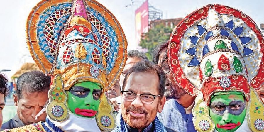 Union Minister of Minority Affairs Mukhtar Abbas Naqvi inaugurates the Hunar Hatt Handicrafts Exhibition at People's Plaza in Hyderabad on Sunday